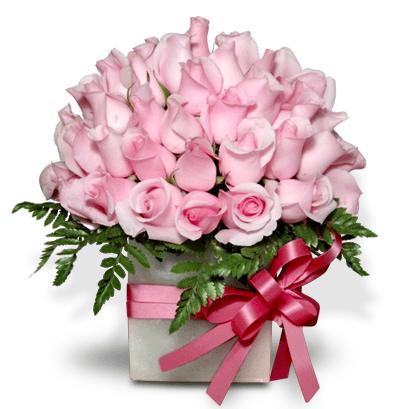 Arreglo floral con 75 rosas rosa