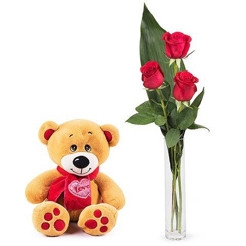 Arreglo Floral con Rosas y Peluche