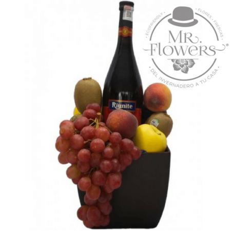 Arreglo Frutal con Vino