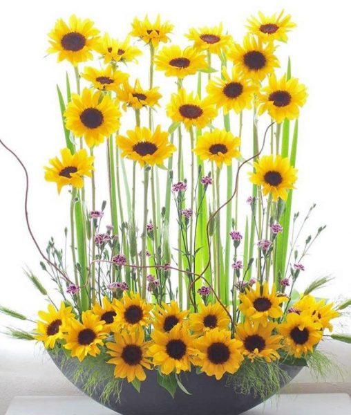 Arreglo Floral Con 30 Mini Girasoles